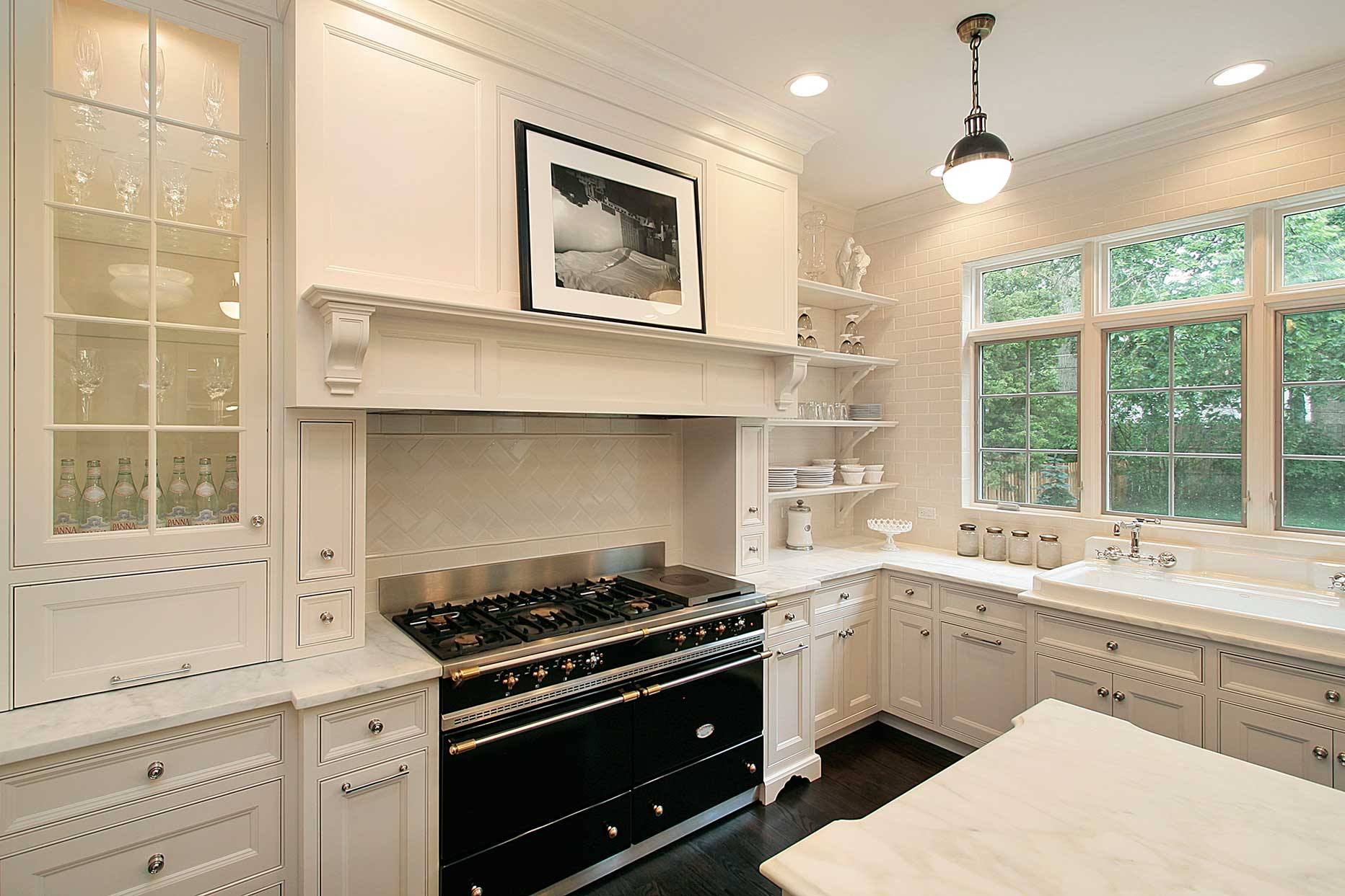 Black Hood Mantle White Kitchen