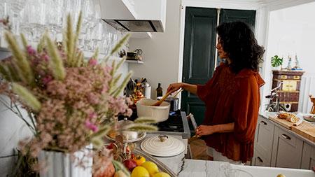 Jackie cooking