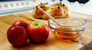 challah with honey and apples