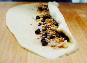 rolling challah dough