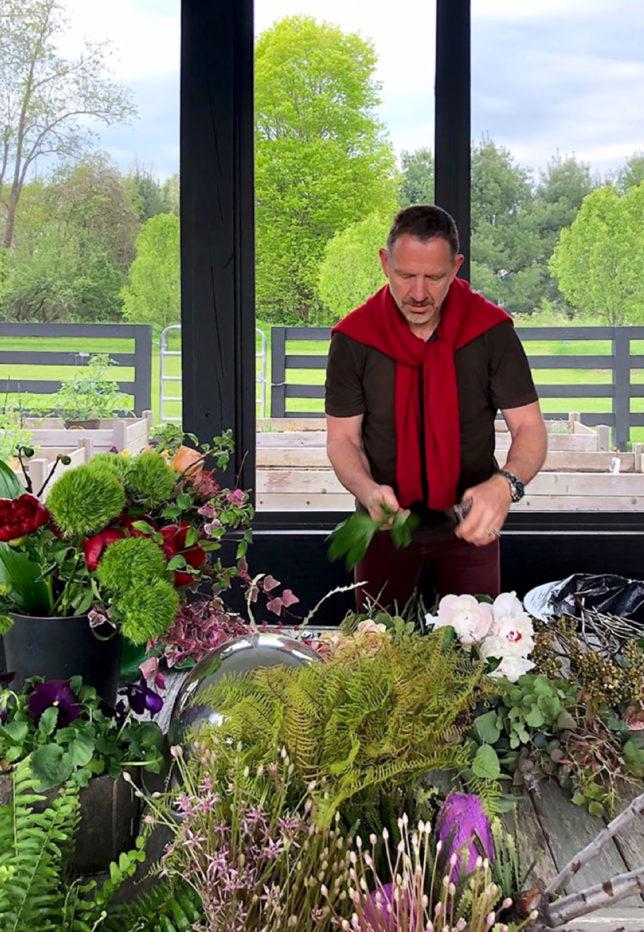 Kurt arranging flowers